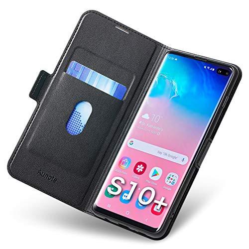 Aunote Samsung Galaxy S10 Plus Hülle, Galaxy S10 Plus Schutzhülle mit Kartenfach, Handyhülle Tasche, Leder Etui Folio Flip Cover Case, PU TPU Klapphülle Komplettschutz S10 Plus Phone. Schwarz