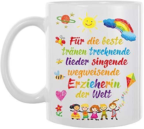 EZYshirt® Geschenk für die beste Erzieherin der Welt Kaffeetasse Kaffeebecher