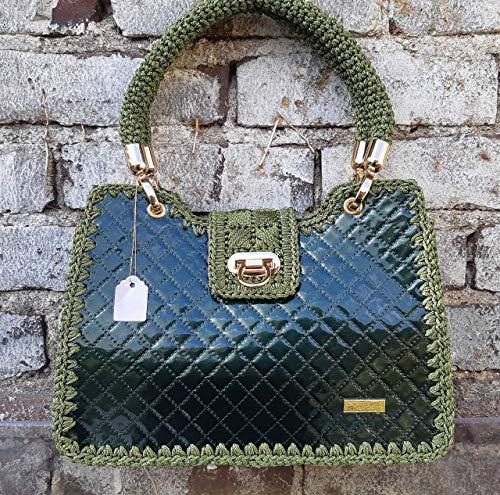 Damen Lack Handtasche Gehäkelte dunkelgrüne gesteppte Henkeltasche Designer Luxus Tote Tasche mit Geflochtenem Griff Exklusive Tasche mit Muster